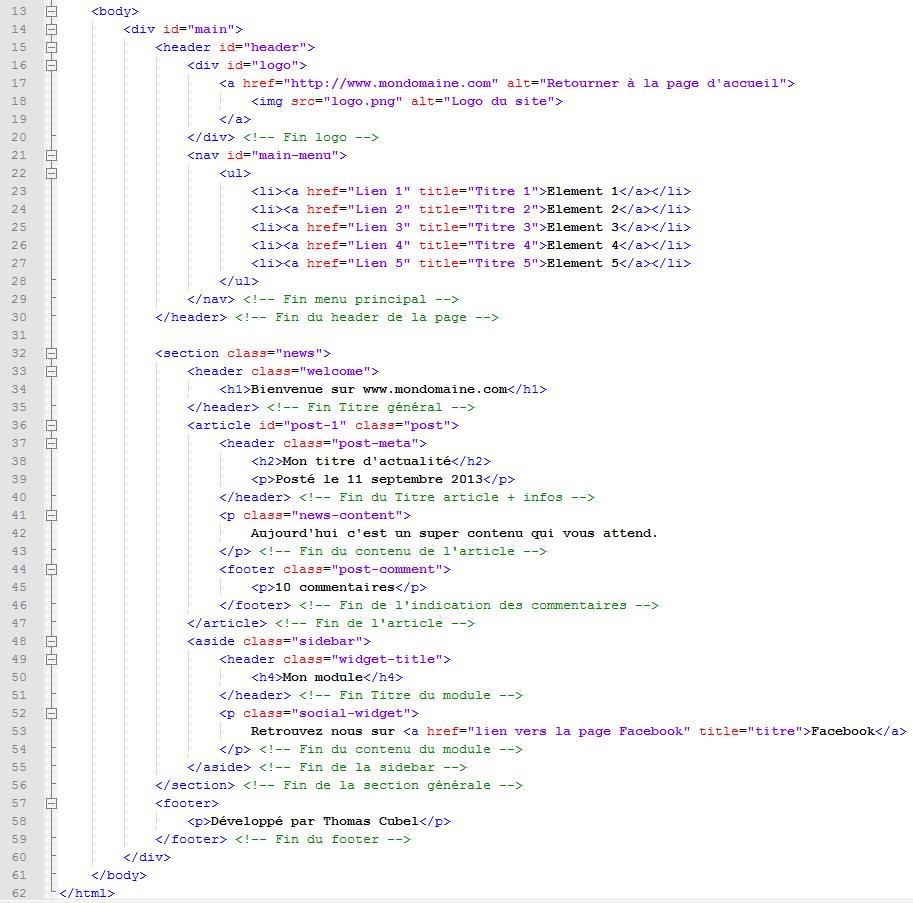 Code du Body en HTML5