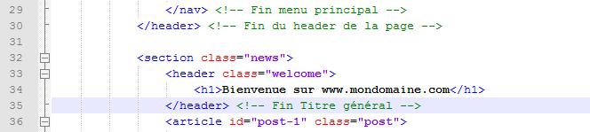 Code HTML5 propre