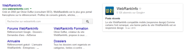 Knowledge Graph Google Plus du site WebRankInfod'OlivierDuffez